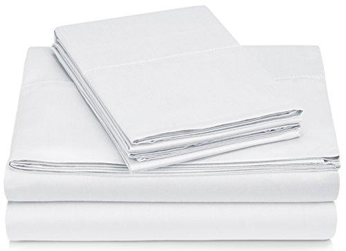 Pinzon 400-Thread-Count Hemstitch Egyptian Cotton Sheet Set - Full, White (Full Size Sheet Set White compare prices)