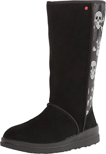 UGG Women's Kisses Tall Black Sequin Skull Suede Boot 7 B (M)