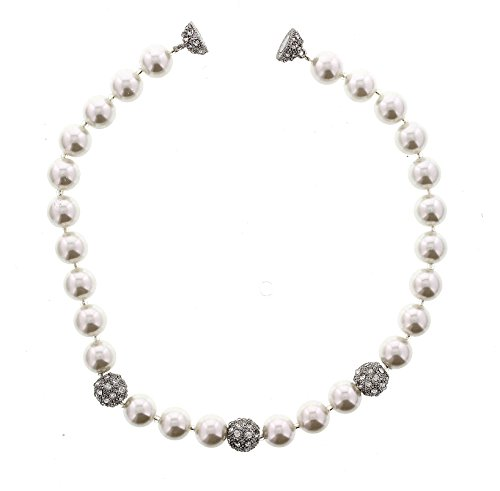 Wedding Look Faux Pearls And Pave Ball Accents With Magnetic Clasp
