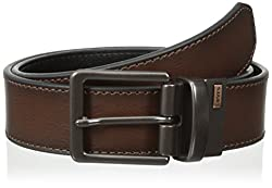 Levis Mens Reversible Bridle Belt with Antique Finish Buckle, Brown/Black, 34