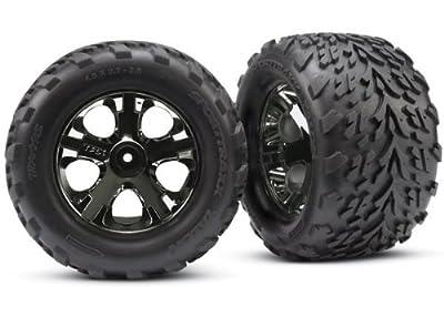 """Traxxas 3669A Talon 2.8"""" Tires Assembled on All-Star Black-Chrome Wheels"""