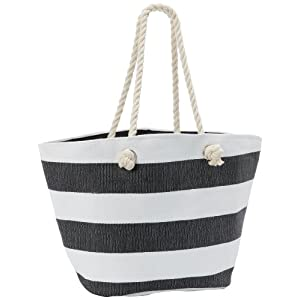 Magid Paper Straw Stripe Tote,Black/White,One Size