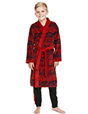 Waist Tie Fair Isle Dressing Gown