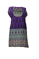 Tulip Collections Women's Cotton Embroidered Kurti (Large, Purple)