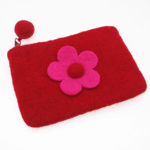 Felt Daisy Flower Purse 150 x 100mm - Red