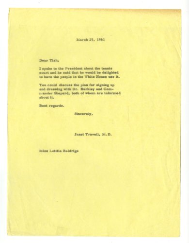 Janet Travell - Jfk'S Doctor - Authentic Typed Letter - 1961 front-1061550