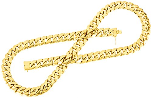 Men'S 38 Inch 14K Gold Plated 18 Mm Cuban Link Chain Hip Hop Necklace