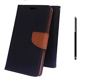 Online Street Wallet Style Flip With Stylus Pen For Samsung Galaxy Note 1 GT 9220 - (Black Brown Flip+ Stylus)