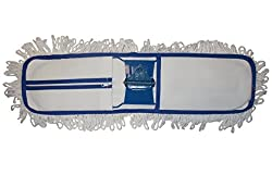 Dust Mop Flat Industrial Cleaning Large Floor Mopping Easy 100% Cotton Head Microfiber Natural Water Absorbing Cleaner Floor Surface, Size 60cm Wide Head For Hospital, School, Factory, Corporate Office, Hall Etc