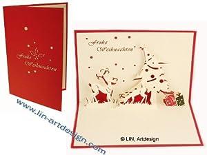 Pop up 3d weihnachtskarten rentiere b robedarf schreibwaren - Weihnachtskarten amazon ...