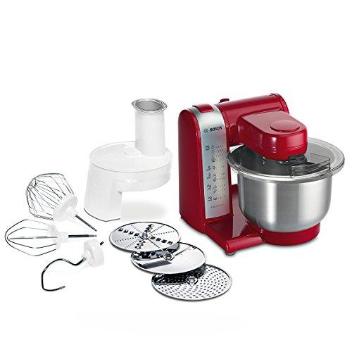 Bosch MUM48R1 Robot da Cucina 600 W, Ciotola in Acciaio INOX, Sminuzzatore, DVD con Ricette, Rosso