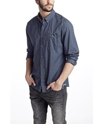 ESPRIT - Baumwollhemd mit Kontrastknopfleiste Chemise casual Homme - Bleu (STORMY SKY) - FR : XX-Large (Taille fabricant : XX-Large)
