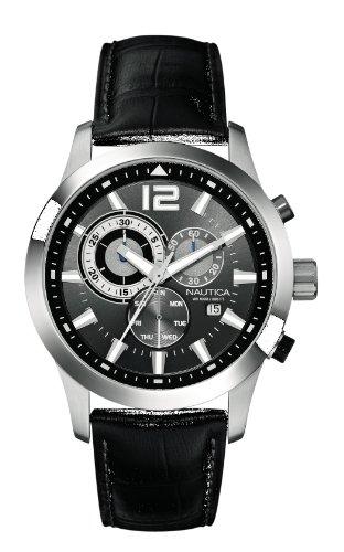 nautica-a15546g-montre-homme-quartz-chronographe-cadran-gris-bracelet-cuir-noir