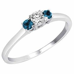 3 Diamant Bleu en Pierre et Diamant Blanc Accented Bague de Fiançailles en Platine (1/4 cttw) - La Taille 52