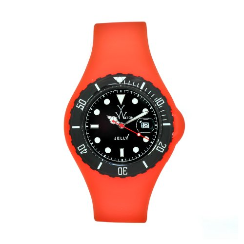 Toy Men's JYORS|BLK Jelly Orange Silicone Strap Black Dial Watch