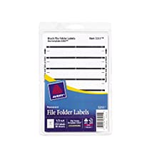 Avery Print or Write File Folder Labels for Laser and Inkjet Printers, 1/3 Cut, Black, Pack of 252 (5211)