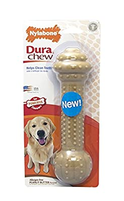 Nylabone Dura Chew Barbell, Peanut Butter Flavor