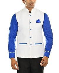 MR WHITE Men's Linen Jacket (Mr-white-JACKET-JODHPURI-02_40, White, 40)