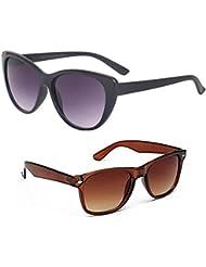 New Stylish UV Protected Combo Pack Of Sunglasses For Women / Girl ( BlackCateye-BrownWayfarer ) ( CM-SUN-015 )