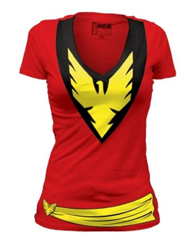Women's X-Men Dark Phoenix Marvel Costume Deep V-Neck T-Shirt