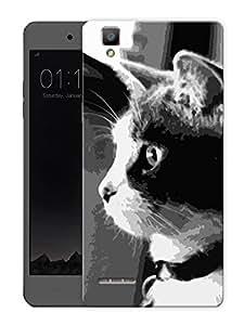 "Cat MonochromePrinted Designer Mobile Back Cover For ""Oppo F1"" (3D, Matte, Premium Quality Snap On Case)"