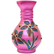 JP Crystal Glass Decorative Vase (30 Cm X 11 Cmx 11 Cm), Pink - B01KJGIDTE