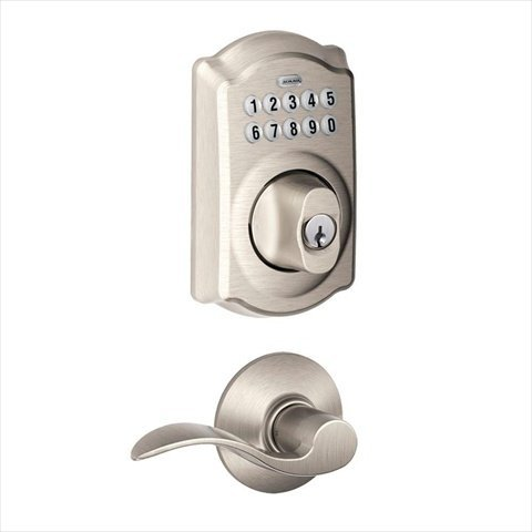 Schlage Camelot Satin Nickel Keypad Combo Pack With Accent Lever
