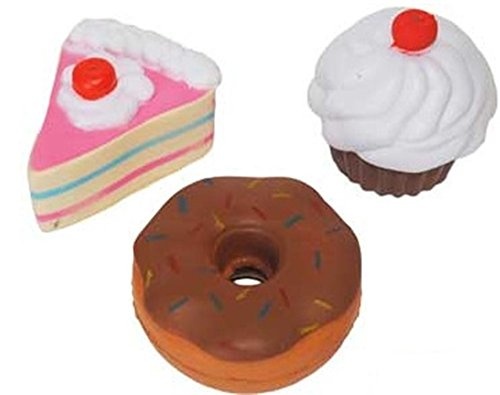 3 Pack Sweets Stress Balls - Includes Stress Cupcake, Stress Slice of Cake and Stress Donut - Stocking Stuffer Set