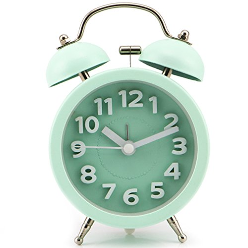 PiLife Silent Non-ticking Vintage Classic Bedside Alarm Clock with Backlight, Battery Operated Travel Clock, Twin Bell Loud Alarm Clock( 3D Green)