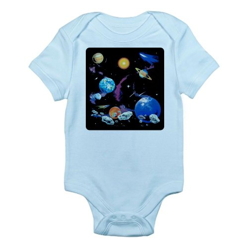 Artsmith, Inc. Infant Bodysuit Solar System And Asteroids - Sky Blue, 0 To 3 Months