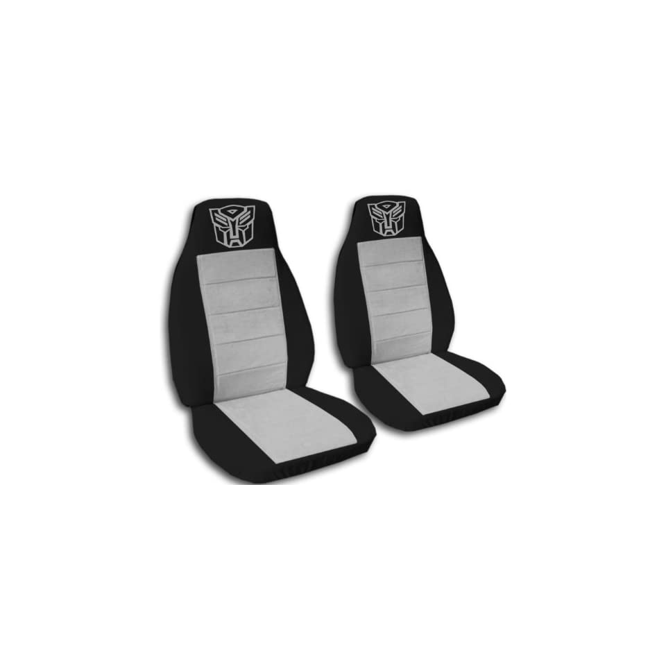 2 Black and Silver Robot seat covers for a 2009 to 2011 Toyota Corolla. Side airbag friendly.