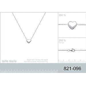Collier en Argent 925/000 - Chaîne avec Pendentif Fixe - Coeur Ajouré - Bijoux Femme