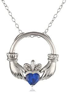 Sterling Silver Diamond Accent and Lab Created Sapphire Claddagh Pendant Necklace, 18""