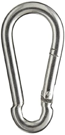 "Peerless 4410640 Carbon Steel Fixed Securing Hook Snap Link, Bright Zinc Finish, 2-3/8"" Overall Length, 1/4"" Chain Size, 5/16"" Opening Size"