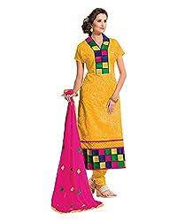 Maruti Suit Women's Kora Silk Suit Material (Mas9007, Yellow, Free Size)