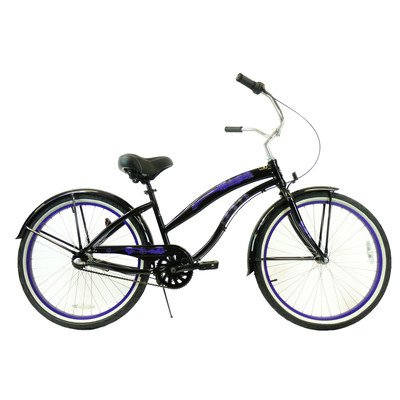 Women's 3-Speed Aluminum Beach Cruiser Frame Color: Black with Purple Wheels