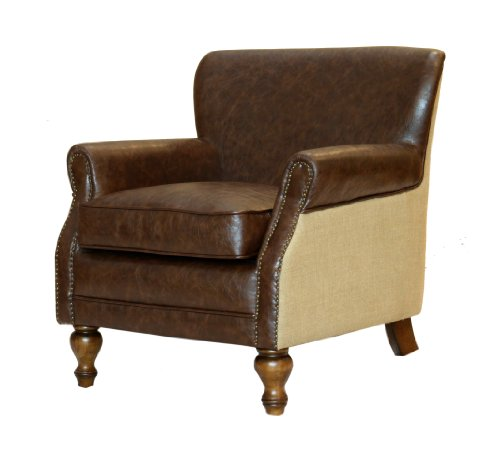 Plutus Club Chair With Natural Jute And Accent Nails, Antique Brown