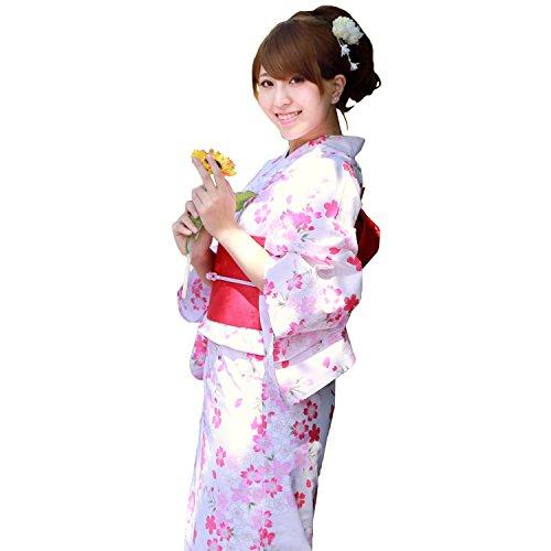 【生成り地に桜吹雪 150cm】浴衣 セット 作り帯 ジュニア ときめきジュニア恋浴衣3点セット -