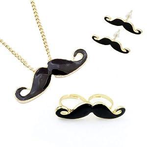 Mustache Jewelry Set, Necklace Pendant Earrings Double Moustache Ring - 4 Pieces