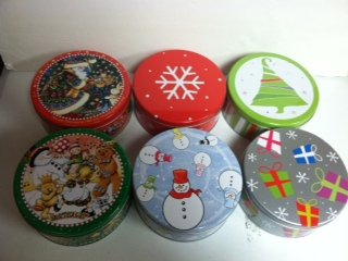 ROUND CHRISTMAS ASSORTED COLOR COOKIE TINS