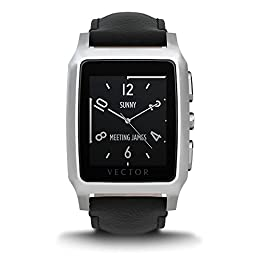 Vector Watch Meridian Smartwatch-30 Day+ Autonomy, 5ATM, Notifications, Activity Tracking - Steel Case/ Black Leather-Casual