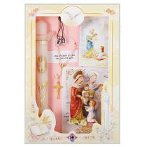 Girl's 3 Year Presentation Set in English with Candle, Rosary, Remembrance, and Keepsake