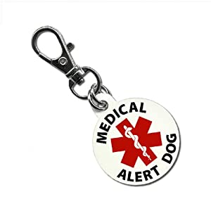 SERVICE DOG MEDICAL ALERT 1.25 inch Aluminum Dog Tag from Creative Clam