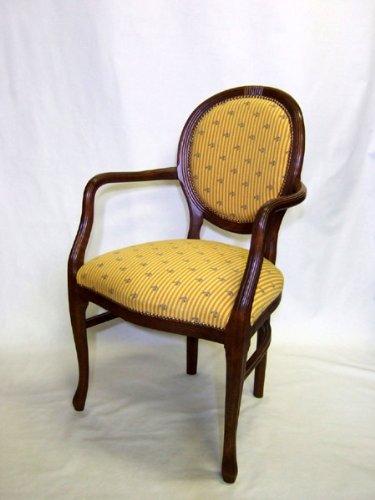 椅子 ITALY アームチェア パスタチェア 茶フレーム フランスゴブランイエロー布地 バラバネ 鋲仕上げ