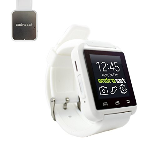 ANDROSET Bluetooth Smart Wrist Watch Phone Mate For IOS Android iPhone Samsung LG HTC (WHITE)