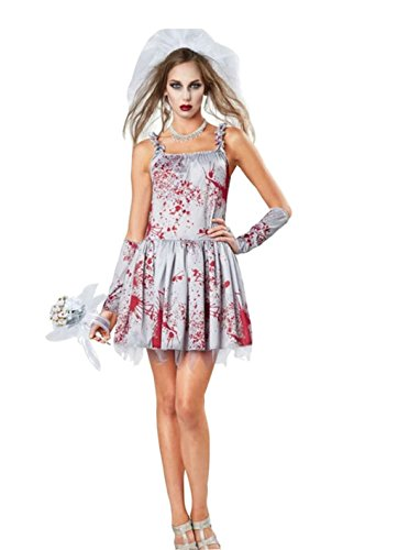[NonEcho Women Bloody Zombie Bride Costume] (Xl Ghostly Gal Adult Costumes)
