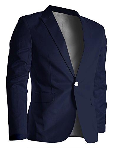 FLATSEVEN Mens Slim Fit Stylish Peaked Lapel Blazer Jacket Navy, S (Chest 38)