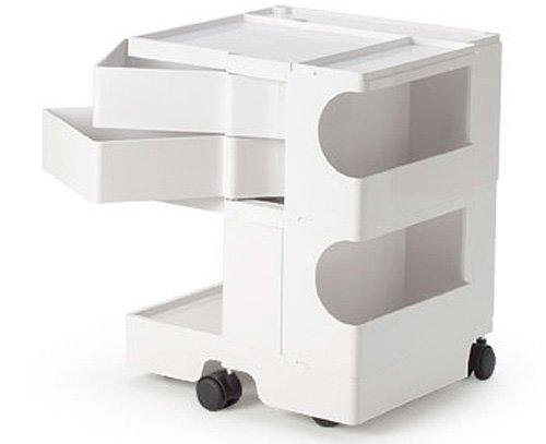 B-LINE/ビーライン ボビーワゴン2段2トレイ ホワイト キャスター付ワゴン 収納家具 ベッドサイドテーブル インテリア デザイナーズ家具