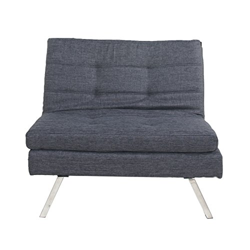 Asense Fabric Sofa Futon Single Seat Two Adjustable Back Position (343432, Gray)Need Two of Them to Act as Futon (Single Seat Sofa compare prices)