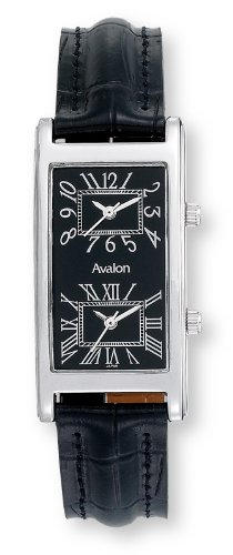 Avalon Unisex silver Tone World Traveler Dual Time Zone Strap Watch #7090-4